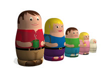 Russian doll family. An illustration of a family in the style of Russian nested Babushka or Matryoshka dolls Royalty Free Stock Photography