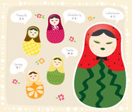 Russian Doll Fruits series Royalty Free Stock Photos