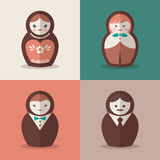 Russian doll groom and bride wedding icons Stock Photo