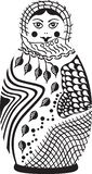 Russian Doll Vector Illustration. Black and white. royalty free illustration