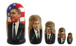Russian doll - matreshka, Barack Obama. President of USA and last presidents of America, isolated on white Royalty Free Stock Photo