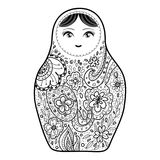 Russian doll matrioshka Babushka sketch smiling face black outline isolated on white background for site, blog, coloring book, fab. Ric. Vector illustration Royalty Free Stock Photography