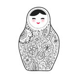 Russian doll matrioshka Babushka sketch smiling face with pink cheeks on white background. Vector Royalty Free Stock Image