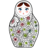 Russian doll matrioshka Babushka sketch on white background. Stock Photography