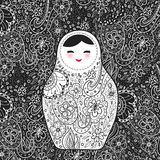 Russian doll matrioshka Babushka smiling face with pink cheeks, sketch flowers and leaves contours on black background. Vector Stock Photos