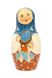 Russian doll matrioshka with matte paint isolated. Russian wooden matrioshka or babushka, matte paint, isolated Stock Photos