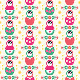 Russian doll Matryoshka folk seamless pattern Stock Photos