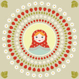 Russian doll matryoshka portrait print in round frame - flat vector illustration. Russian doll matryoshka portrait print Stock Photos