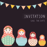 Russian doll matryoshka print on postcard invitation - flat vector illustration Stock Image