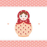 Russian doll matryoshka print on postcard invitation - flat vector illustration Royalty Free Stock Image