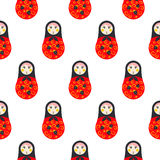 Russian doll matryoshka red seamless pattern. Royalty Free Stock Image