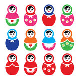 Russian doll, retro babushka  colorful icons set Royalty Free Stock Images