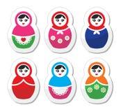 Russian doll, retro babushka  icons set Stock Photography