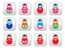 Russian doll, retro babushka vector colorful buttons set Royalty Free Stock Photography
