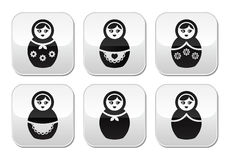 Russian doll, retro matrioshka  buttons set Stock Photo