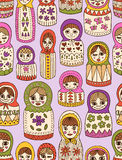 Russian doll seamless pattern. Seamless pattern - Russian dolls in different shapes Stock Illustration