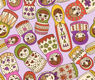 Russian doll seamless pattern. Seamless vector pattern - Russian dolls in different shapes Stock Illustration
