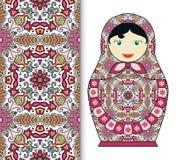 Russian doll toy souvenir, seamless geometric floral pattern Stock Photos