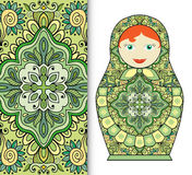 Russian doll toy souvenir, seamless geometric floral pattern Stock Image
