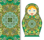 Russian doll toy souvenir, seamless geometric floral pattern Royalty Free Stock Images