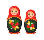Russian Doll Toys from Santa Vector Illustration. Russian doll toys from Santa Claus factory, ethic gift for children at Christmas celebration, vector Royalty Free Stock Image