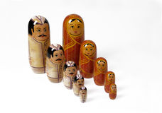 Russian doll with typical female and male. Row royalty free stock photos