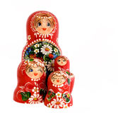 Russian dolls. On a white background Royalty Free Stock Photos