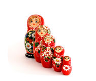 Russian dolls. Five wooden Russian dolls, Isolated on white Stock Photos