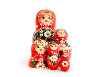 Russian dolls. Five wooden Russian dolls, Isolated on white Royalty Free Stock Image