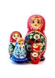 Russian Dolls. Wooden Russian dolls isolated on white Stock Images