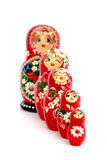 Russian dolls. Five wooden Russian dolls isolated on white Stock Images
