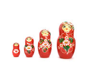 Russian Dolls. Four wooden Russian dolls isolated on white Stock Images