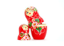 Russian Dolls. Two wooden Russian nesting dolls isolated on white Royalty Free Stock Photos