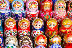 Russian dolls. For sale in Moscow Stock Photos