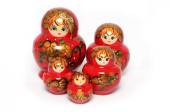 Russian Dolls. Opened Russian doll on white background royalty free stock images