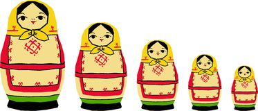 Russian dolls. Vectorized russian dolls, also known as matrioshkas Stock Images