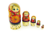 Russian dolls. Set of russian dolls. Usually are placed one inside another. Isolated on white Royalty Free Stock Images