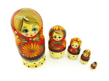 Russian dolls. Set of russian dolls. Usually are placed one inside another. Isolated on white Stock Photography
