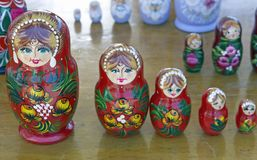 Russian Dolls. Traditional Russian doll set Royalty Free Stock Photo