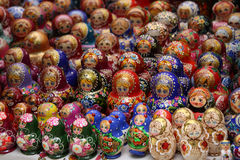 Russian dolls. Russian souvenirs - colorful wooden dools stock image
