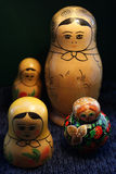Russian Dolls. A collection of Wooden Russian Dolls Stock Photo