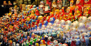 Russian Dolls. Display of many Russian dolls on a Christmas market Stock Images
