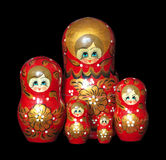 Russian dolls isolated on black Royalty Free Stock Image