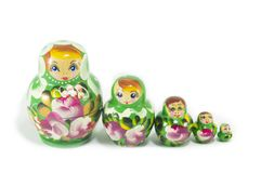Russian dolls isolated Royalty Free Stock Images