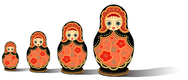 Russian dolls isolated on white Stock Photography