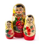 Russian dolls isolated on white background Stock Photos