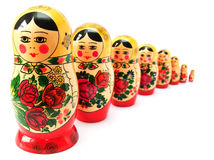 Russian dolls in line Royalty Free Stock Photo