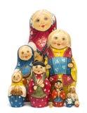 Russian dolls matrioshkas matte painted and isolated. Set of ten Russian dolls matrioshkas matte painted and isolated Royalty Free Stock Photography