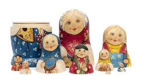 Russian dolls matrioshkas matte painted and isolated. Set of ten Russian dools or matrioshkas matte painted and isolated Royalty Free Stock Images