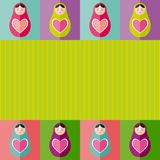 Russian dolls matryoshka with heart.Card design. Vector Royalty Free Stock Photography